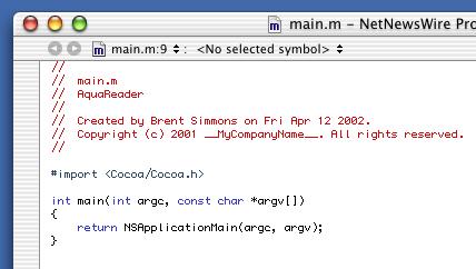 Screen shot of NetNewsWire's main.m source code file