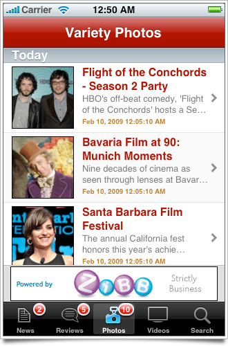 Variety iPhone app screenshot